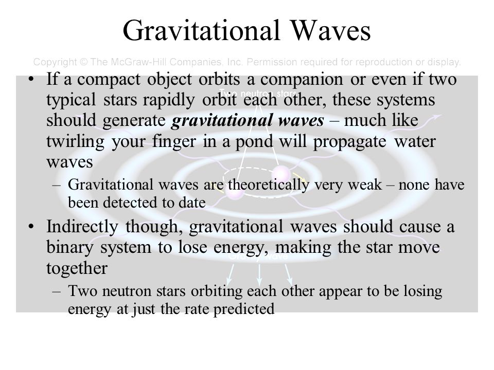 Gravitational Waves If a compact object orbits a companion or even if two typical stars rapidly orbit each other, these systems should generate gravit