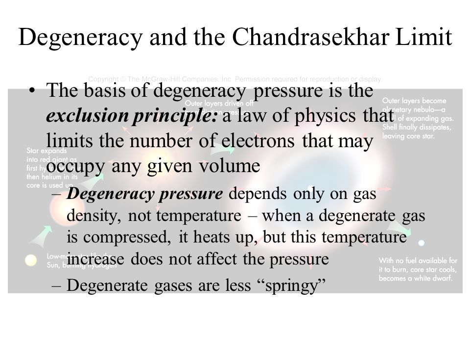 Degeneracy and the Chandrasekhar Limit The basis of degeneracy pressure is the exclusion principle: a law of physics that limits the number of electro