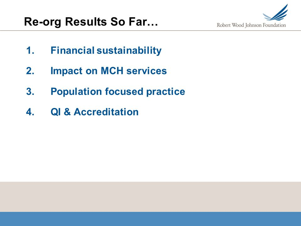 Re-org Results So Far… 1.Financial sustainability 2.Impact on MCH services 3.Population focused practice 4.QI & Accreditation