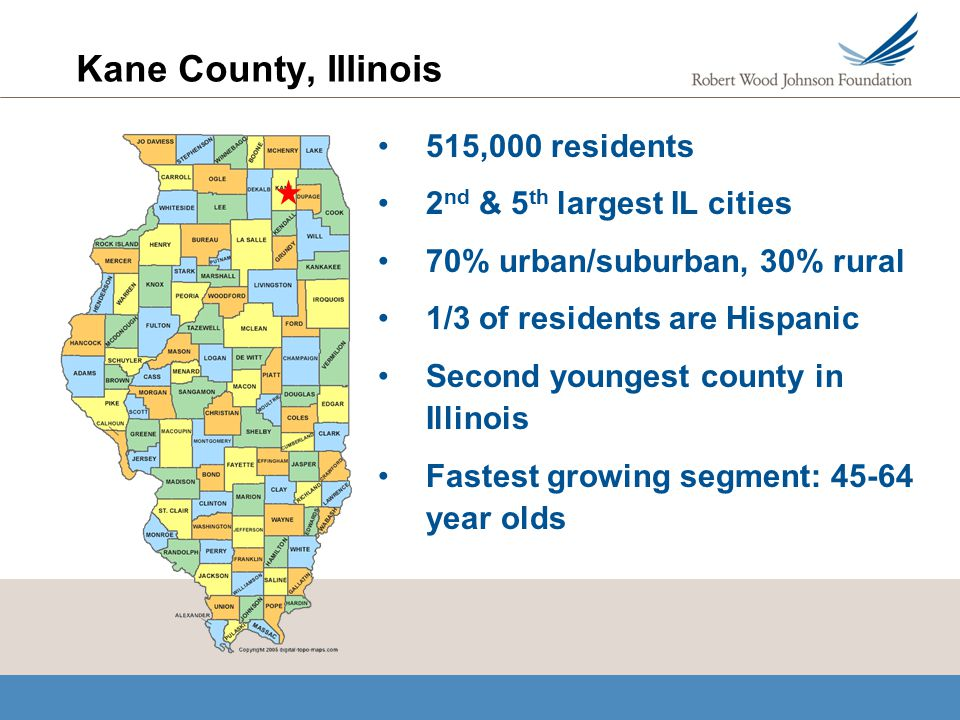 Kane County, Illinois 515,000 residents 2 nd & 5 th largest IL cities 70% urban/suburban, 30% rural 1/3 of residents are Hispanic Second youngest county in Illinois Fastest growing segment: 45-64 year olds