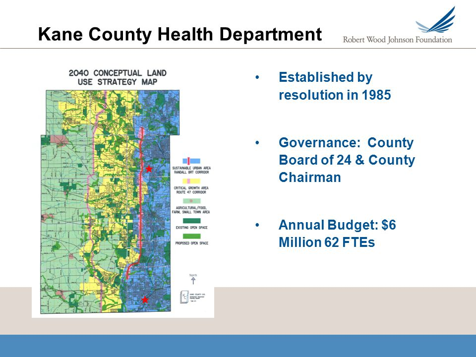 Kane County Health Department Established by resolution in 1985 Governance: County Board of 24 & County Chairman Annual Budget: $6 Million 62 FTEs
