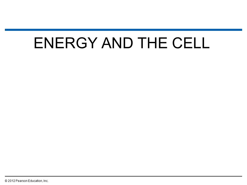 ENERGY AND THE CELL © 2012 Pearson Education, Inc.