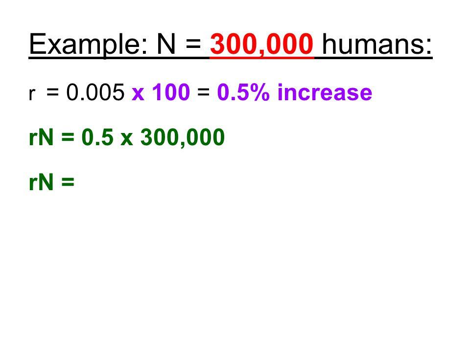Example: N = 300,000 humans: r = 0.005 x 100 = 0.5% increase rN = 0.5 x 300,000 rN =