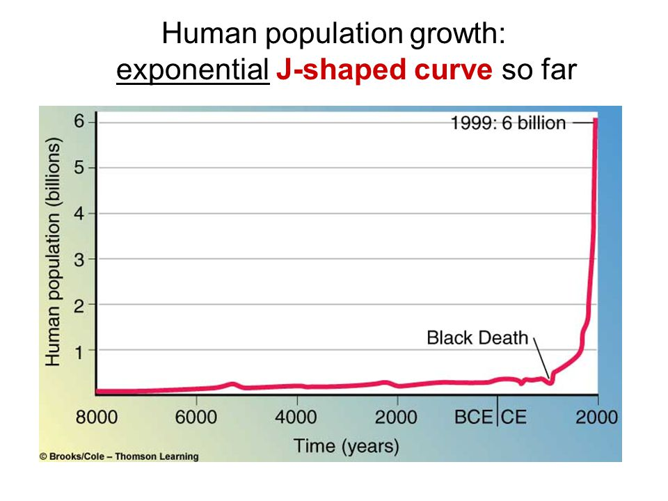 Human population growth: exponential J-shaped curve so far