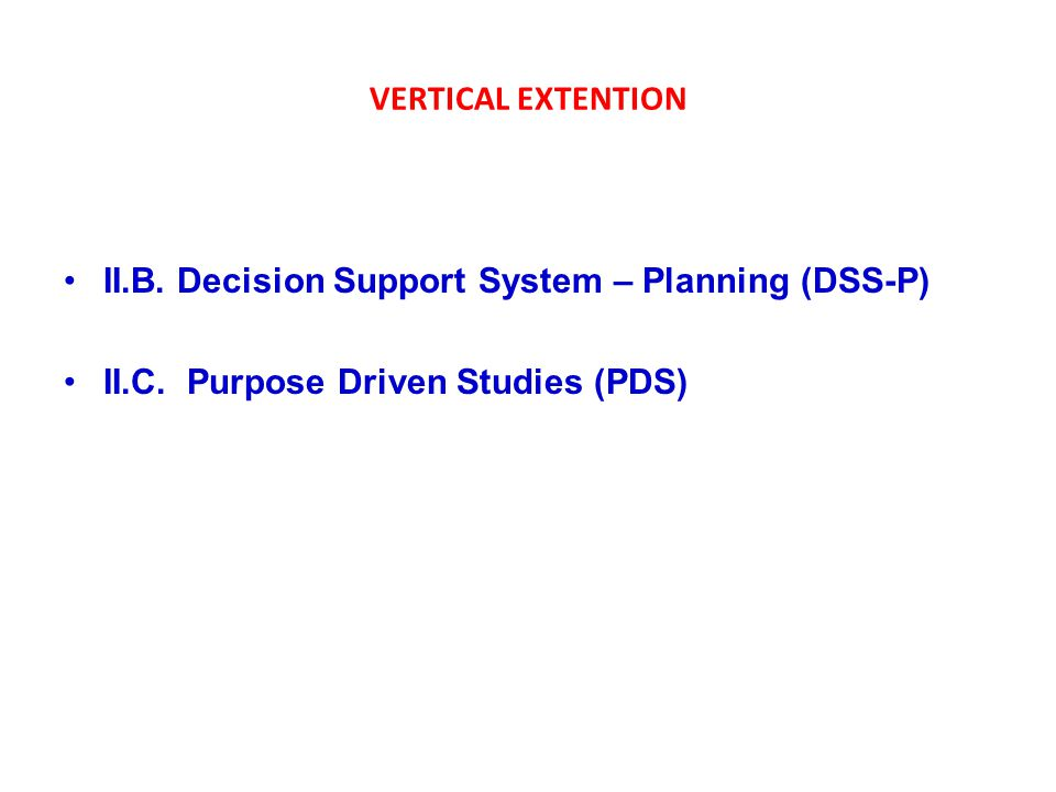 VERTICAL EXTENTION II.B. Decision Support System – Planning (DSS-P) II.C.