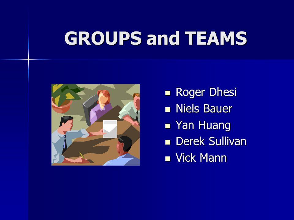 GROUPS and TEAMS Roger Dhesi Roger Dhesi Niels Bauer Niels Bauer Yan Huang Yan Huang Derek Sullivan Derek Sullivan Vick Mann Vick Mann