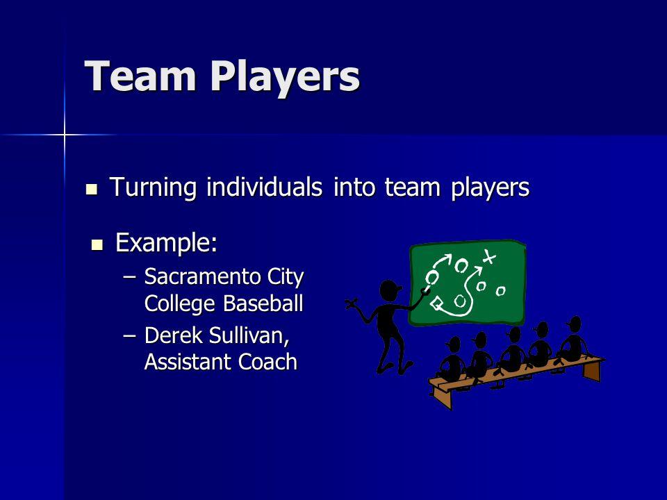 Team Players Turning individuals into team players Turning individuals into team players Example: Example: –Sacramento City College Baseball –Derek Su