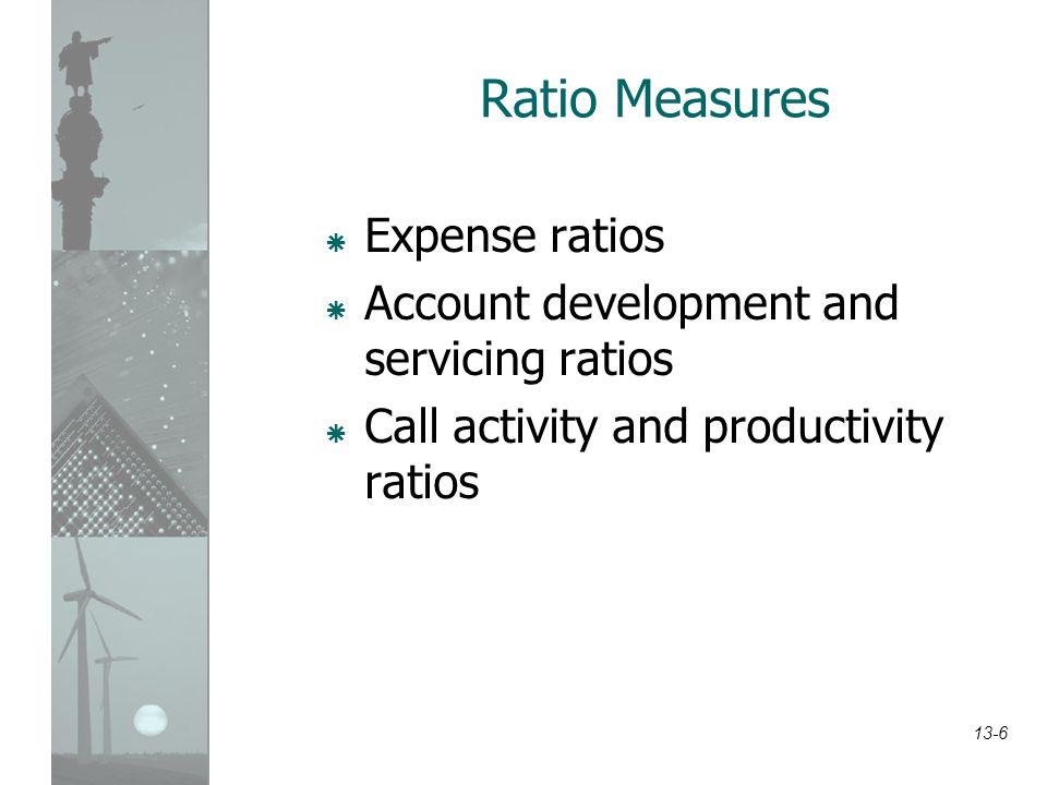 13-6 Ratio Measures  Expense ratios  Account development and servicing ratios  Call activity and productivity ratios