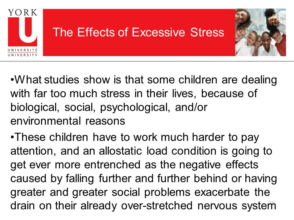 26 The Effects of Excessive Stress What studies show is that some children are dealing with far too much stress in their lives, because of biological, social, psychological, and/or environmental reasons These children have to work much harder to pay attention, and an allostatic load condition is going to get ever more entrenched as the negative effects caused by falling further and further behind or having greater and greater social problems exacerbate the drain on their already over-stretched nervous system