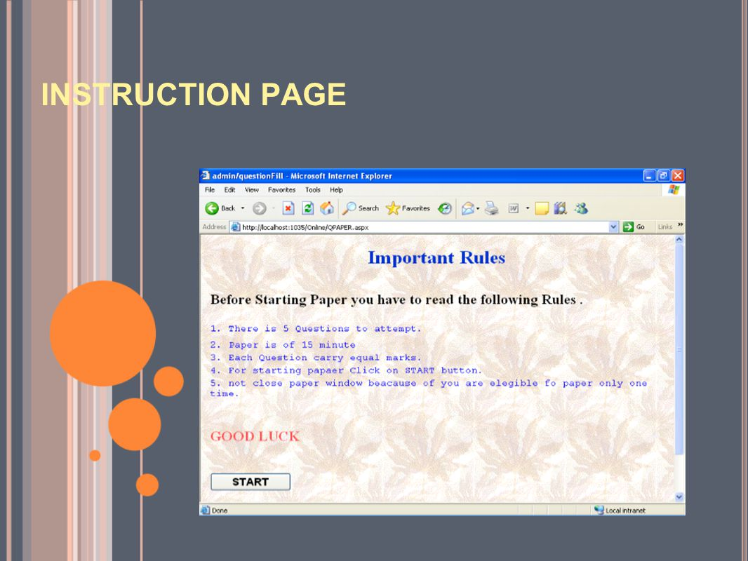 INSTRUCTION PAGE