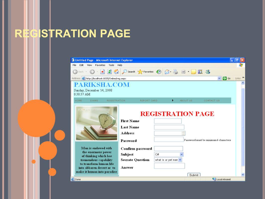 REGISTRATION PAGE