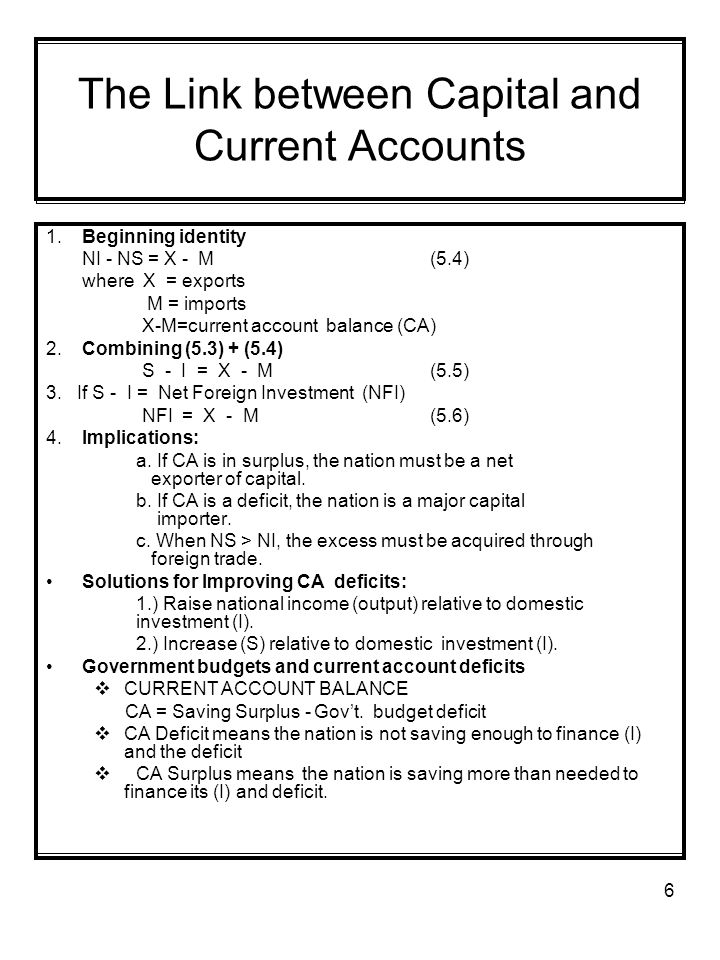 6 The Link between Capital and Current Accounts 1.Beginning identity NI - NS = X - M(5.4) where X = exports M = imports X-M=current account balance (CA) 2.Combining (5.3) + (5.4) S - I = X - M(5.5) 3.