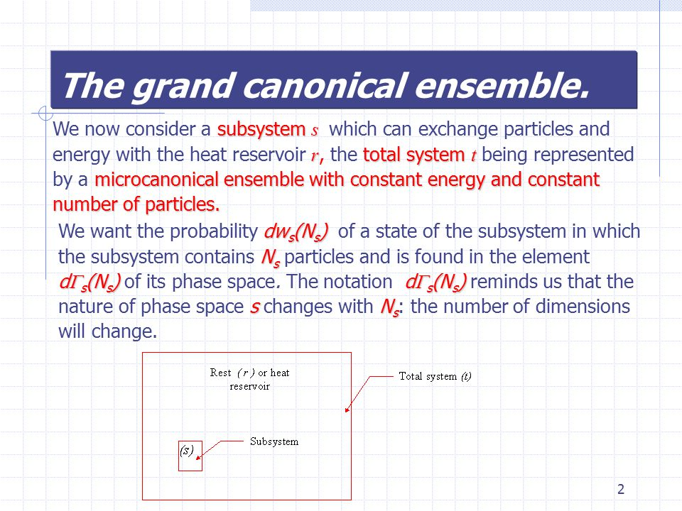 3 We do not care about the state of the remainder of the system provided only that (5.1) Then, by analogy with the treatment of the canonical ensemble, (5.2) (5.3) or We expend  r in a power series: (5.4) recalling that (5.5)