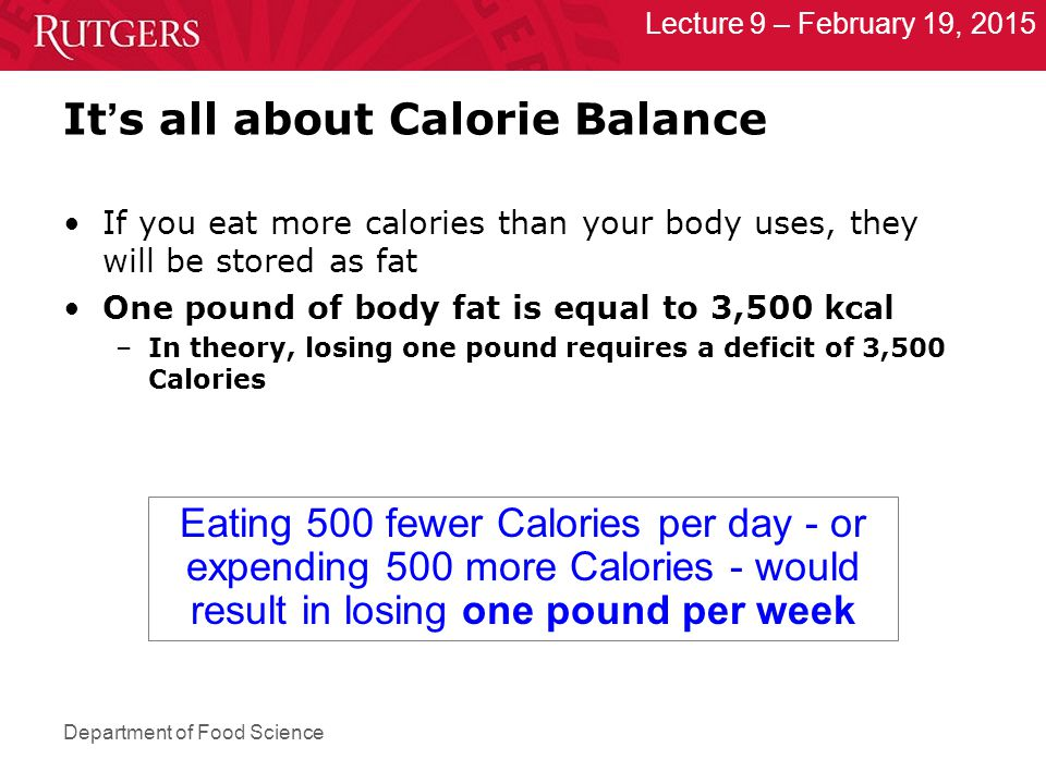 Department of Food Science Lecture 9 – February 19, 2015 It ' s all about Calorie Balance If you eat more calories than your body uses, they will be stored as fat One pound of body fat is equal to 3,500 kcal –In theory, losing one pound requires a deficit of 3,500 Calories Eating 500 fewer Calories per day - or expending 500 more Calories - would result in losing one pound per week