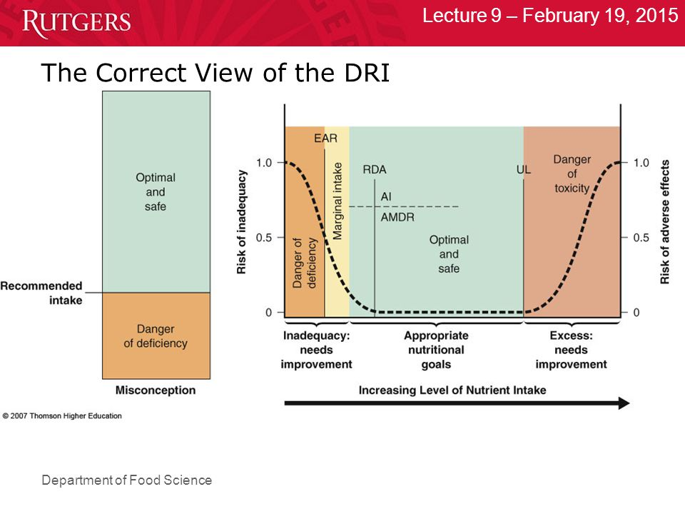 Department of Food Science Lecture 9 – February 19, 2015 The Correct View of the DRI