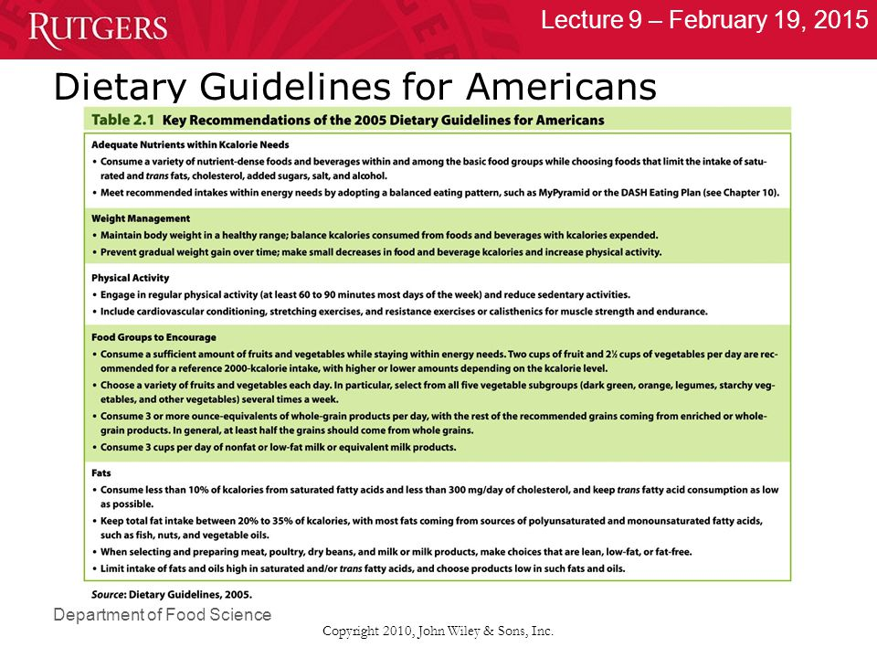 Department of Food Science Lecture 9 – February 19, 2015 Copyright 2010, John Wiley & Sons, Inc. Dietary Guidelines for Americans