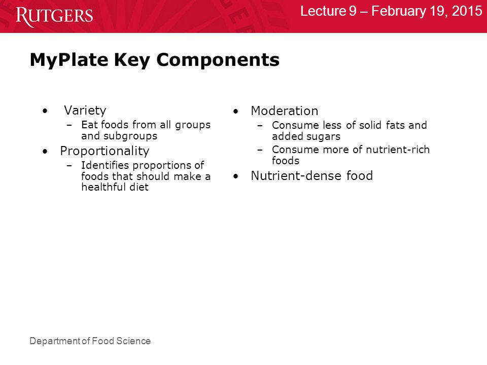Department of Food Science Lecture 9 – February 19, 2015 MyPlate Key Components Variety –Eat foods from all groups and subgroups Proportionality –Identifies proportions of foods that should make a healthful diet Moderation –Consume less of solid fats and added sugars –Consume more of nutrient-rich foods Nutrient-dense food