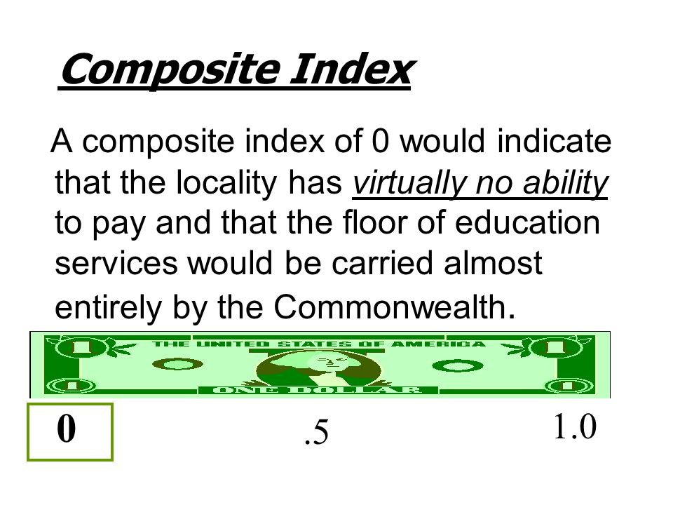Composite Index A composite index of 0 would indicate that the locality has virtually no ability to pay and that the floor of education services would be carried almost entirely by the Commonwealth.