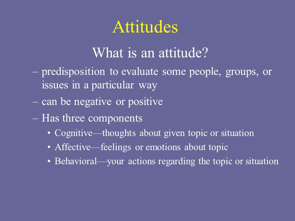 Attitudes What is an attitude? –predisposition to evaluate some people, groups, or issues in a particular way –can be negative or positive –Has three