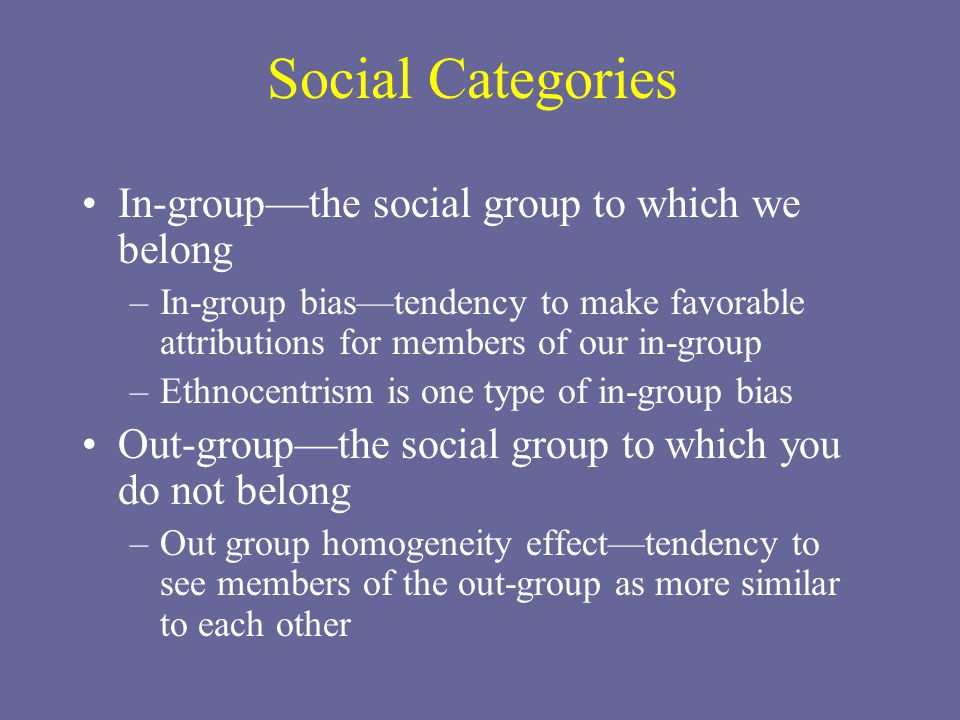Social Categories In-group—the social group to which we belong –In-group bias—tendency to make favorable attributions for members of our in-group –Ethnocentrism is one type of in-group bias Out-group—the social group to which you do not belong –Out group homogeneity effect—tendency to see members of the out-group as more similar to each other