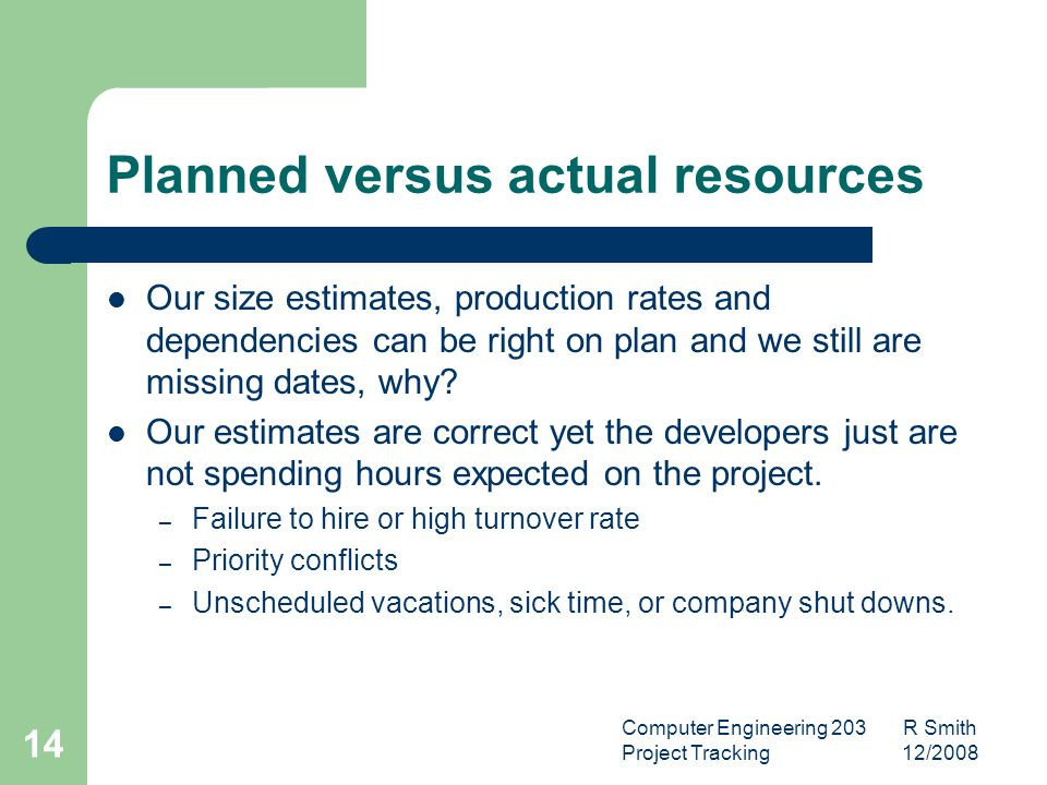 Computer Engineering 203 R Smith Project Tracking 12/2008 15 New or Changed Requirements Tracking how and when requirements change can predict further changes in the project.