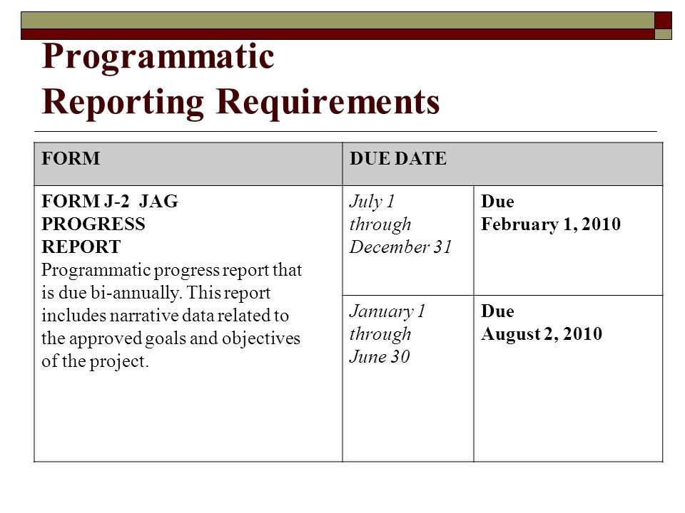 Programmatic Reporting Requirements  Two Reports: J-2 Semi-Annual Progress Report Performance Metrics