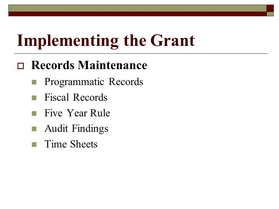 Implementing the Grant  Expenditures Requiring Prior Approval Equipment Consultants Out-of-State Travel  Non-Allowable Expenditures Review in Financial Guide