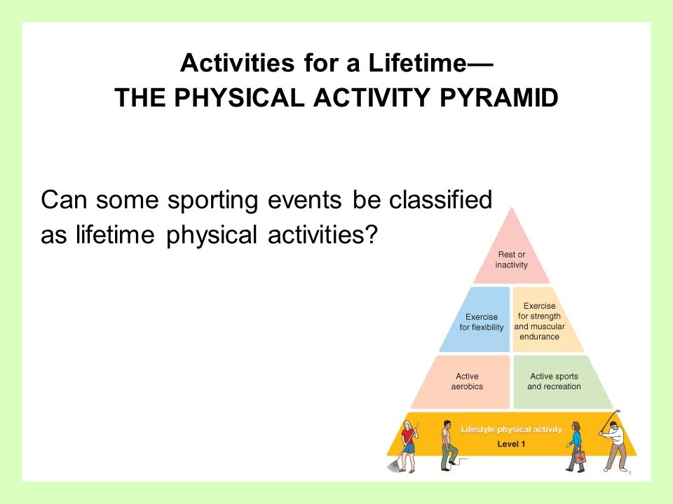 Answer Yes – sports like golf, tennis, and racquetball can be termed lifestyle activities.
