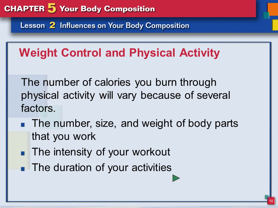 10 Weight Control and Physical Activity The number of calories you burn through physical activity will vary because of several factors.