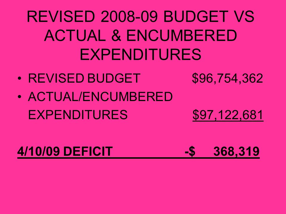 REVISED 2008-09 BUDGET VS ACTUAL & ENCUMBERED EXPENDITURES REVISED BUDGET $96,754,362 ACTUAL/ENCUMBERED EXPENDITURES $97,122,681 4/10/09 DEFICIT -$ 368,319