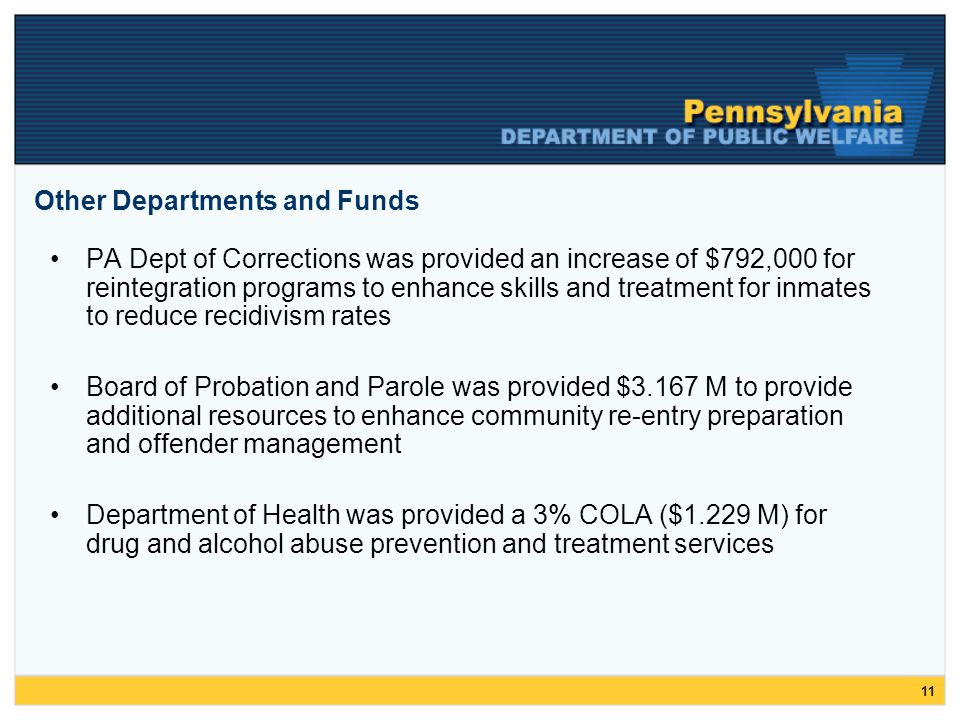 11 Other Departments and Funds PA Dept of Corrections was provided an increase of $792,000 for reintegration programs to enhance skills and treatment for inmates to reduce recidivism rates Board of Probation and Parole was provided $3.167 M to provide additional resources to enhance community re-entry preparation and offender management Department of Health was provided a 3% COLA ($1.229 M) for drug and alcohol abuse prevention and treatment services