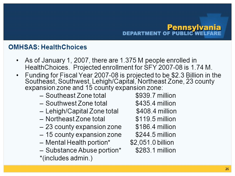 26 As of January 1, 2007, there are 1.375 M people enrolled in HealthChoices.
