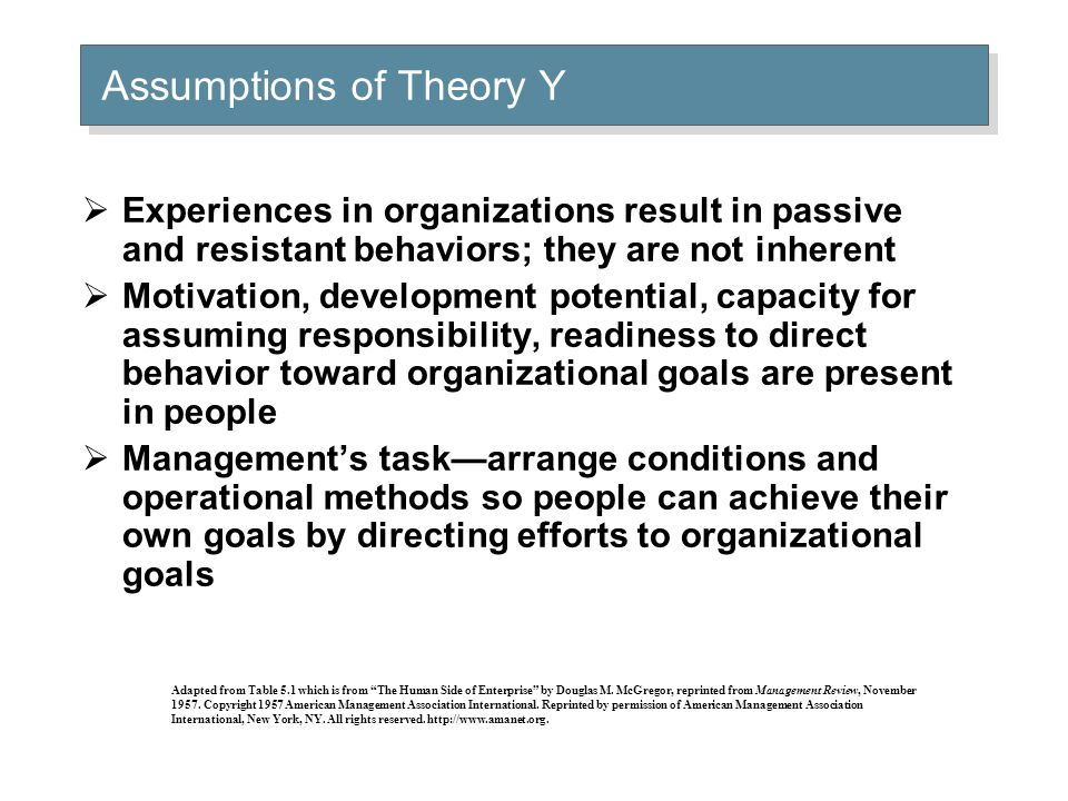  Experiences in organizations result in passive and resistant behaviors; they are not inherent  Motivation, development potential, capacity for assu