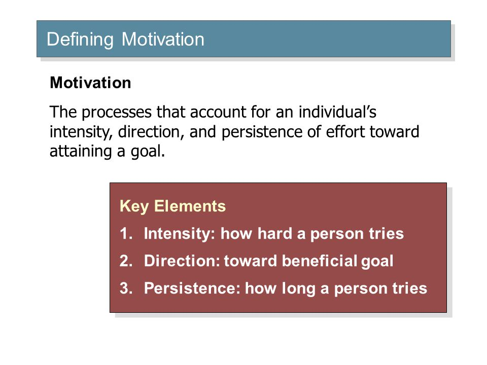 Defining Motivation Key Elements 1.Intensity: how hard a person tries 2.Direction: toward beneficial goal 3.Persistence: how long a person tries Key E