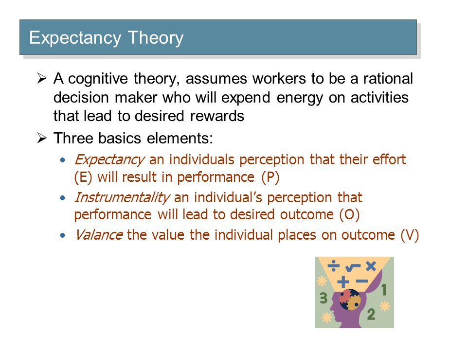  A cognitive theory, assumes workers to be a rational decision maker who will expend energy on activities that lead to desired rewards  Three basics