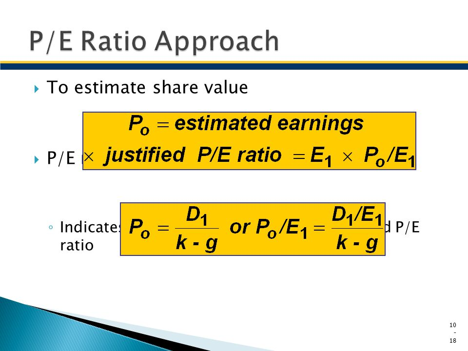  To estimate share value  P/E ratio can be derived from ◦ Indicates the factors that affect the estimated P/E ratio 10 - 18