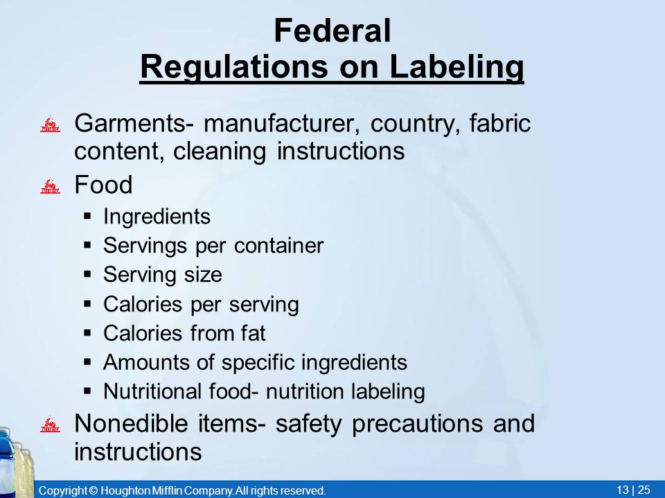 Copyright © Houghton Mifflin Company. All rights reserved. 13 | 25 Federal Regulations on Labeling Garments- manufacturer, country, fabric content, cl