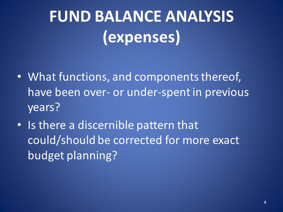 FUND BALANCE ANALYSIS (expenses) What functions, and components thereof, have been over- or under-spent in previous years? Is there a discernible patt