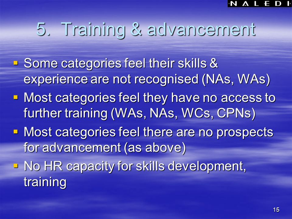 15 5. Training & advancement  Some categories feel their skills & experience are not recognised (NAs, WAs)  Most categories feel they have no access