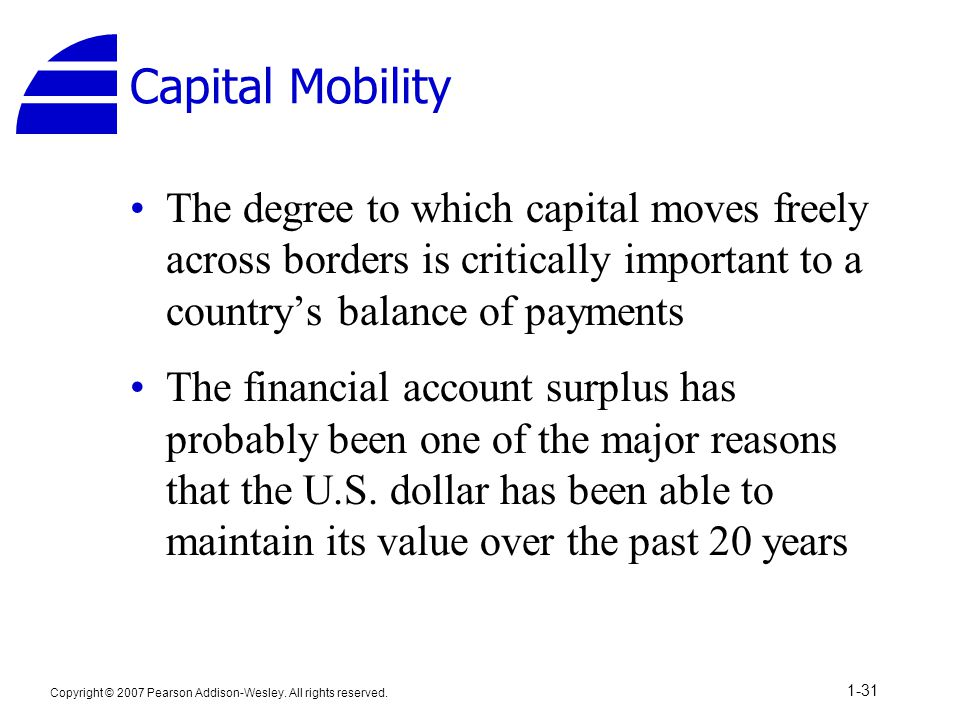Copyright © 2007 Pearson Addison-Wesley. All rights reserved. 1-31 Capital Mobility The degree to which capital moves freely across borders is critica