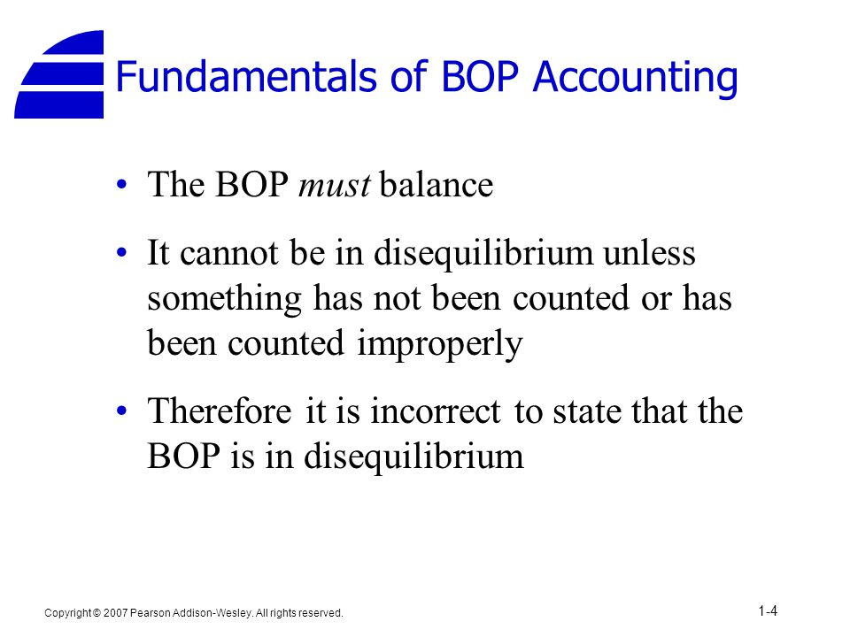 Copyright © 2007 Pearson Addison-Wesley. All rights reserved. 1-4 Fundamentals of BOP Accounting The BOP must balance It cannot be in disequilibrium u