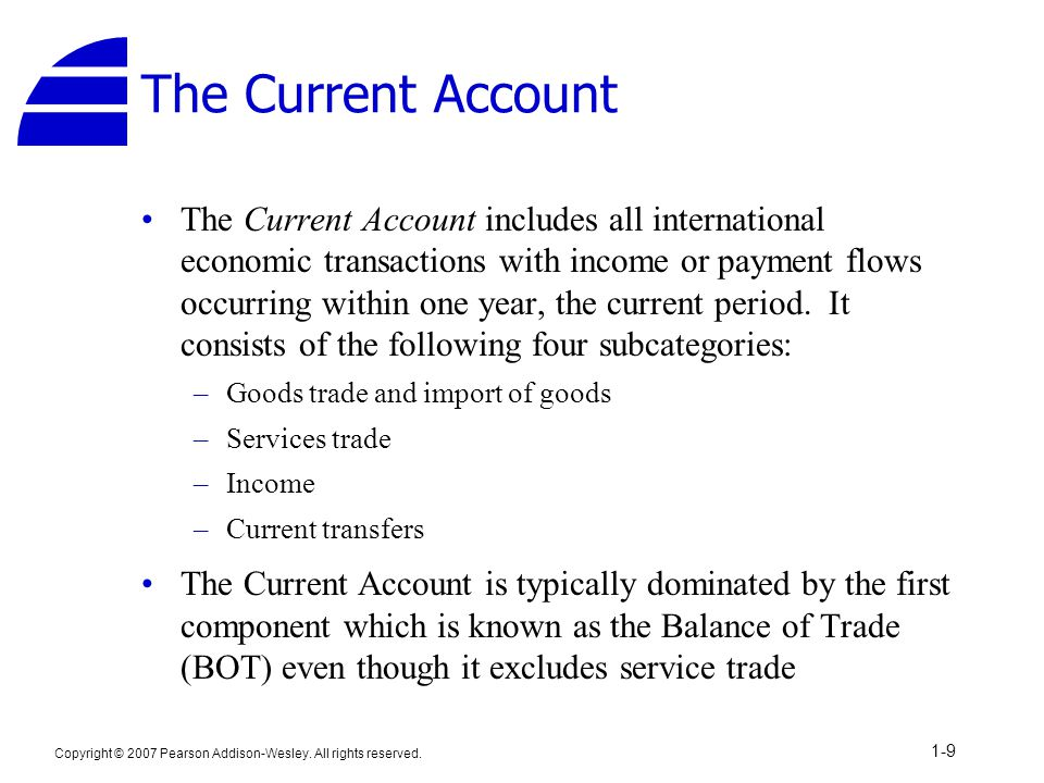 Copyright © 2007 Pearson Addison-Wesley. All rights reserved. 1-9 The Current Account The Current Account includes all international economic transact