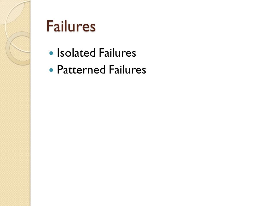Isolated Failures Patterned Failures Failures