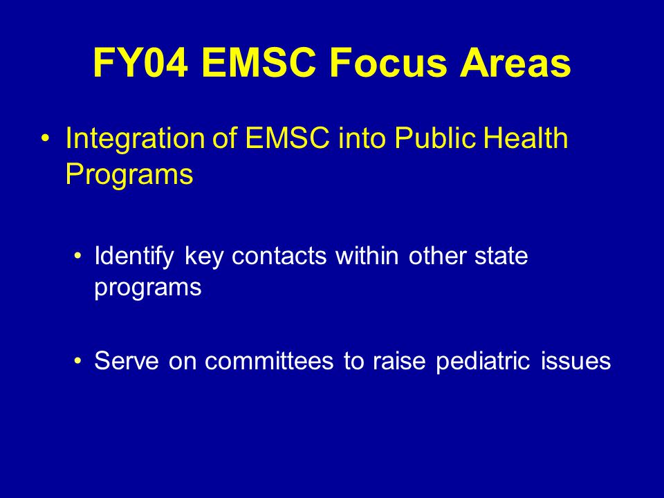 FY04 EMSC Focus Areas Data Activities Convene stakeholders to discuss EMS data issues Purchase hardware and/or software Analyze impact of pediatric field protocols