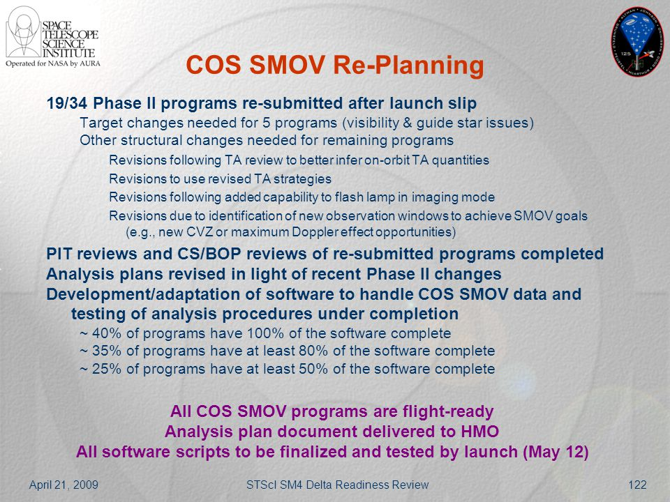 April 21, 2009STScI SM4 Delta Readiness Review122 COS SMOV Re-Planning 19/34 Phase II programs re-submitted after launch slip Target changes needed fo