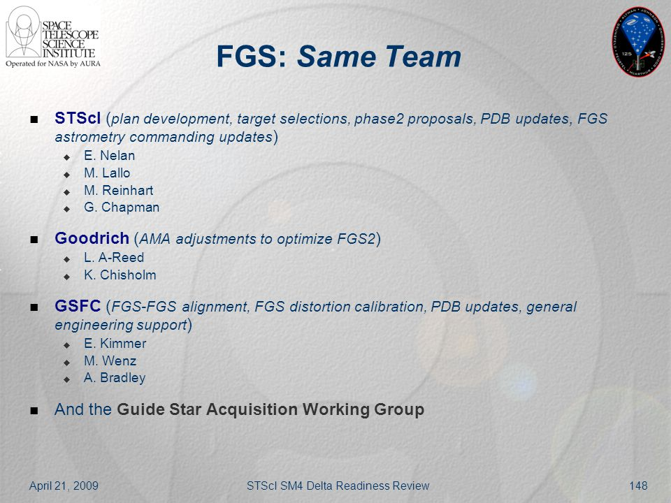 April 21, 2009STScI SM4 Delta Readiness Review148 FGS: Same Team STScI ( plan development, target selections, phase2 proposals, PDB updates, FGS astro