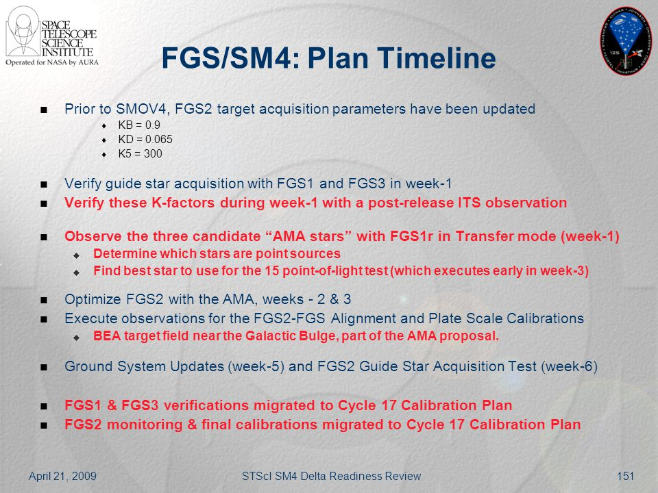 April 21, 2009STScI SM4 Delta Readiness Review151 FGS/SM4: Plan Timeline Prior to SMOV4, FGS2 target acquisition parameters have been updated  KB = 0