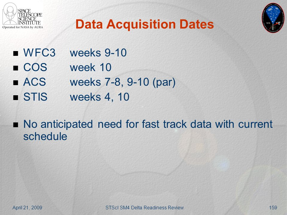 April 21, 2009STScI SM4 Delta Readiness Review159 Data Acquisition Dates WFC3weeks 9-10 COSweek 10 ACSweeks 7-8, 9-10 (par) STISweeks 4, 10 No anticip