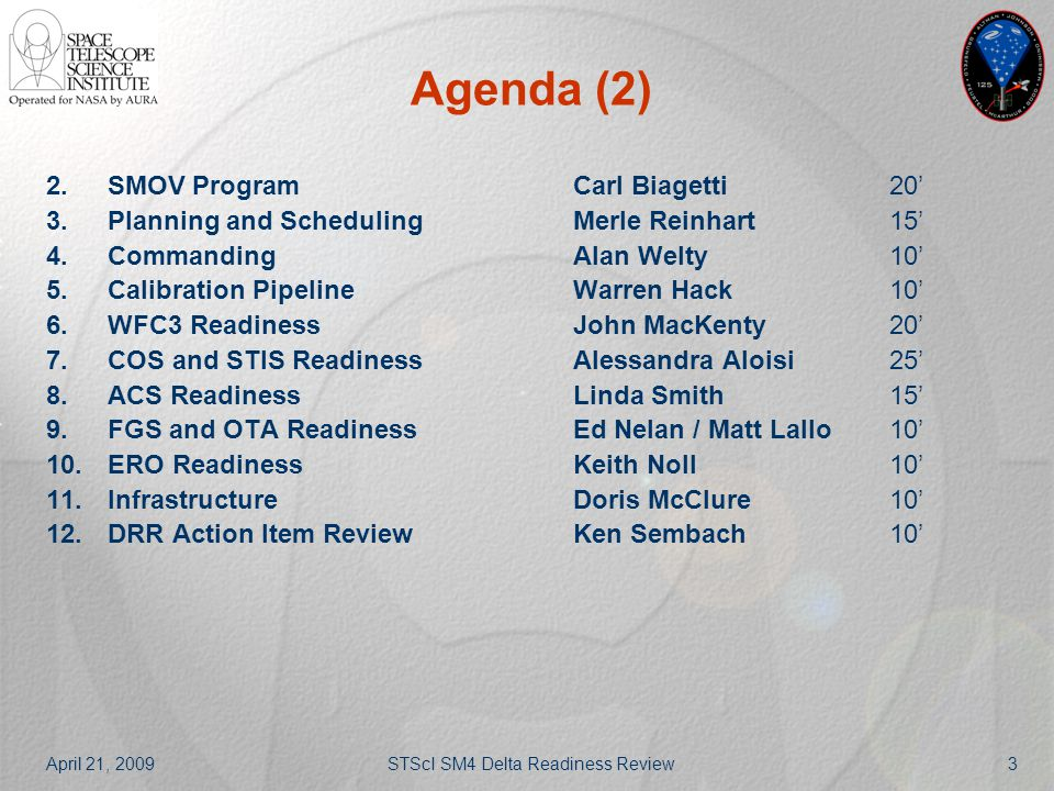 April 21, 2009STScI SM4 Delta Readiness Review3 Agenda (2) 2.SMOV ProgramCarl Biagetti20' 3.Planning and SchedulingMerle Reinhart15' 4.CommandingAlan