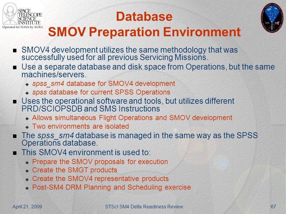 April 21, 2009STScI SM4 Delta Readiness Review67 Database SMOV Preparation Environment SMOV4 development utilizes the same methodology that was succes